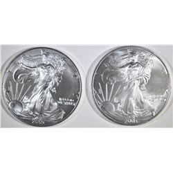 2-BU 2003 AMERICAN SILVER EAGLES