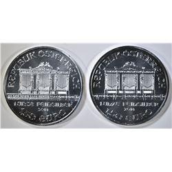 2-2014 AUSTRIAN PHILHARMONIC 1oz SILVER COINS