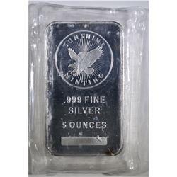 FIVE OUNCE .999 SILVER BAR SUNSHINE MINT