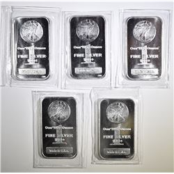 5-ONE OUNCE .999 SILVER BARS