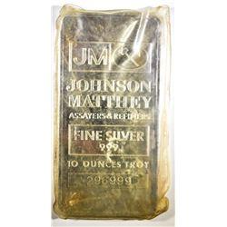 TEN OUNCE .999 SILVER BAR JOHNSON MATTHEY