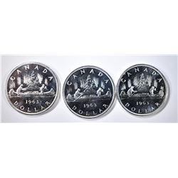 3-1963 CH BU CANADIAN SILVER DOLLARS