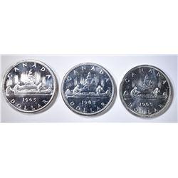 3-1965 CH BU CANADIAN SILVER DOLLARS
