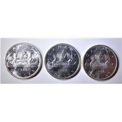 3-1966 CH BU CANADIAN SILVER DOLLARS
