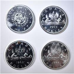 1963, 64, 65 & 66 CH BU CANADIAN SILVER DOLLARS
