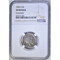 1926-S BUFFALO NICKEL, NGC XF DETAILS, CLEANED