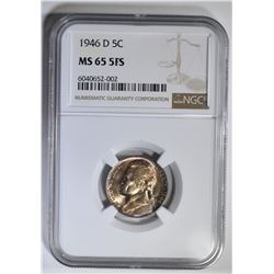 1946-D JEFFERSON NICKEL NGC MS-66 5FS