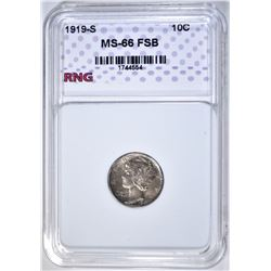 1919-S MERCURY DIME RNG SUPERB GEM BU FSB