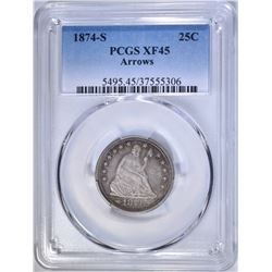 1874-S ARROWS SEATED QUARTER, PCGS XF-45