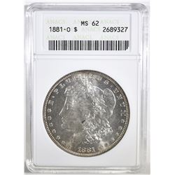 1881-O MORGAN DOLLAR ANACS MS-62