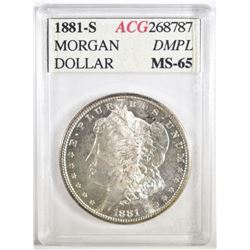1881-S MORGAN DOLLAR ACG GEM BU DMPL