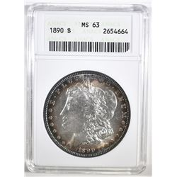 1890 MORGAN DOLLAR ANACS MS-63
