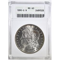 1890-S MORGAN DOLLAR ANACS MS-60