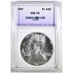 1987 AMERICAN SILVER EAGLE, APCG PERFECT GEM BU