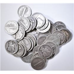 $4.00 FACE VALUE 90% SILVER MERCURY DIMES