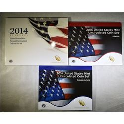 2014 U.S. MINT DOLLAR SET & 2016 U.S. MINT SET