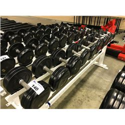 LOT OF DUMBELLS AND AND A 10 SLOT WEIGHT RACK