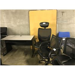 5 OFFICE CHAIRS, 1 COMPUTER TABLE AND 2 TACK BOARDS