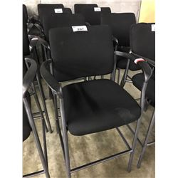 2 BLACK FABRIC BAR HEIGHT CHAIRS (SOME CONDITION ISSUES)