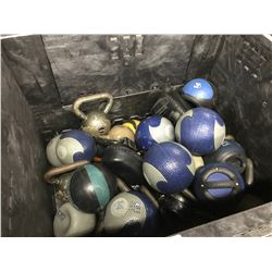 BIN OF MEDICINE BALLS AND KETTLE WEIGHTS - BIN NOT INCLUDED