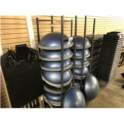 LOT OF 18 BOSU BALLS WITH MOBILE RACK