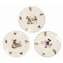 Set of (3) Mickey & Minnie Mouse Bavarian China Plates.