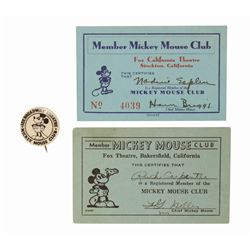 Mickey Mouse Club Button and (2) Membership Cards.