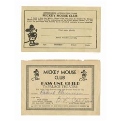 Mickey Mouse Club Application and Pass.