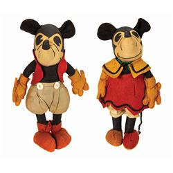 Pair of Mickey and Minnie Mouse Steiff Dolls.