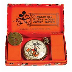 "Mickey Mouse ""Bearded Mickey"" Ingersoll Pocket Watch."