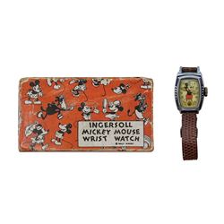 Mickey Mouse Ingersoll Wrist Watch and Box.