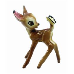 Bambi with Butterfly Evan K. Shaw Ceramic Figure.
