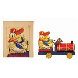Donald Duck Choo Choo Pull Toy and Original Artwork.