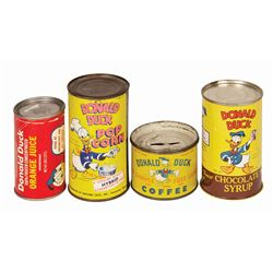 Set of (4) Donald Duck Canned Goods.