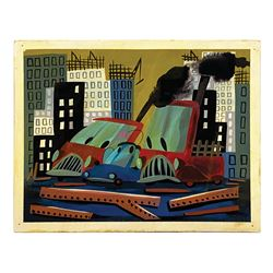 Mary Blair Susie the Little Blue Coupe Painting.