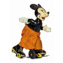 Mickey Mouse Roller Skater Wind-Up Tin Toy.
