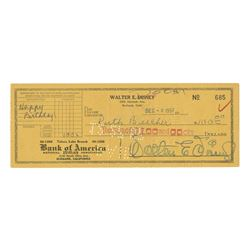 Walt Disney Signed Bank Check to Sister Ruth.