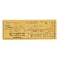 Walt Disney Signed Bank Check to Sister Ruth.