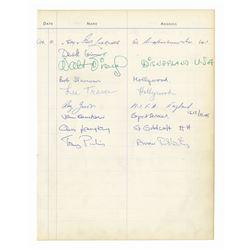 Walt Disney Signed Guest Book with Disneyland Address.