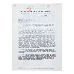 Roy O. Disney Signed Distribution Contract.