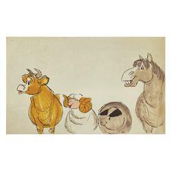 """Mary Poppins """"Jolly Holiday"""" Storyboard Drawing."""