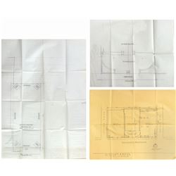 Set of (3) Mary Poppins World Premiere Layout Drawings.