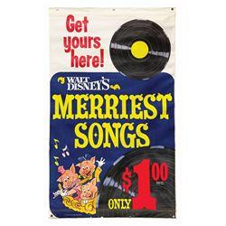 """""""Walt Disney's Merriest Songs"""" Advertising Banner."""