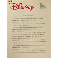 The Walt Disney Studio History & Overview Packet.
