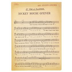 Mickey Mouse Club Opener Sheet Music.