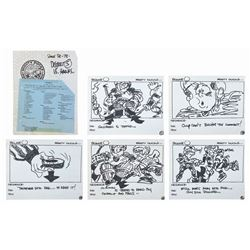 Set of (5) The Mighty Ducks Original Storyboards.
