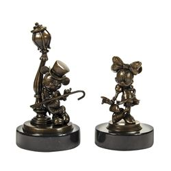 Pair of Lamppost Mickey & Minnie Bronze Sculptures.