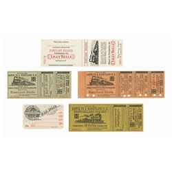 Collection of (5) Walt Disney Railroad Tickets.