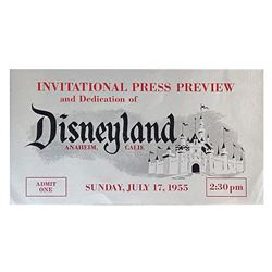 Silver Disneyland Opening Day Press Preview Ticket.
