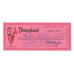 Walt Disney Signed Complimentary Disneyland Passport.